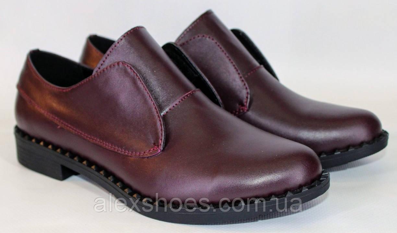 Туфли женские на низком ходу из натуральной кожи от производителя модель ОУ10816-2