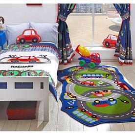 Коврик в детскую комнату Circle Track 100*165 синий