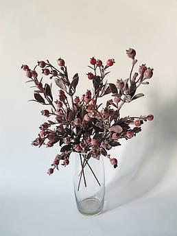 Искусственные цветы. Зимняя веточка шиповника в инее.