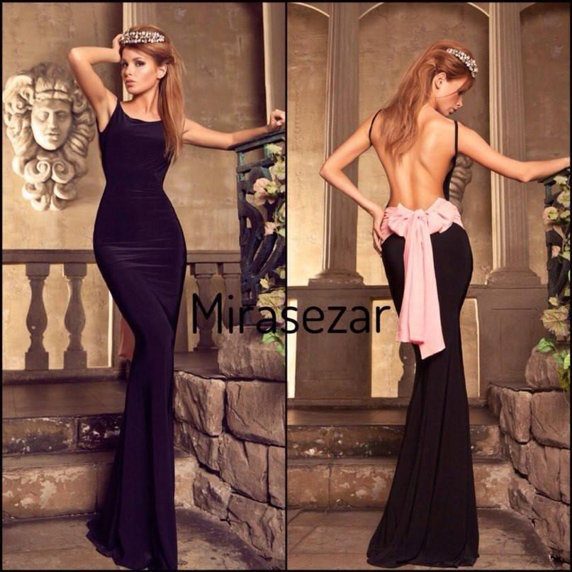 Вечернее платье с бантом и открытой спиной  (три цвета)