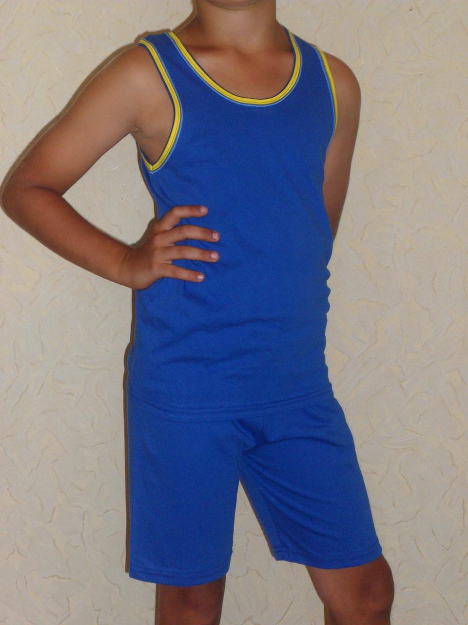 Майка детская спортивная голубая с желтой окантовкой