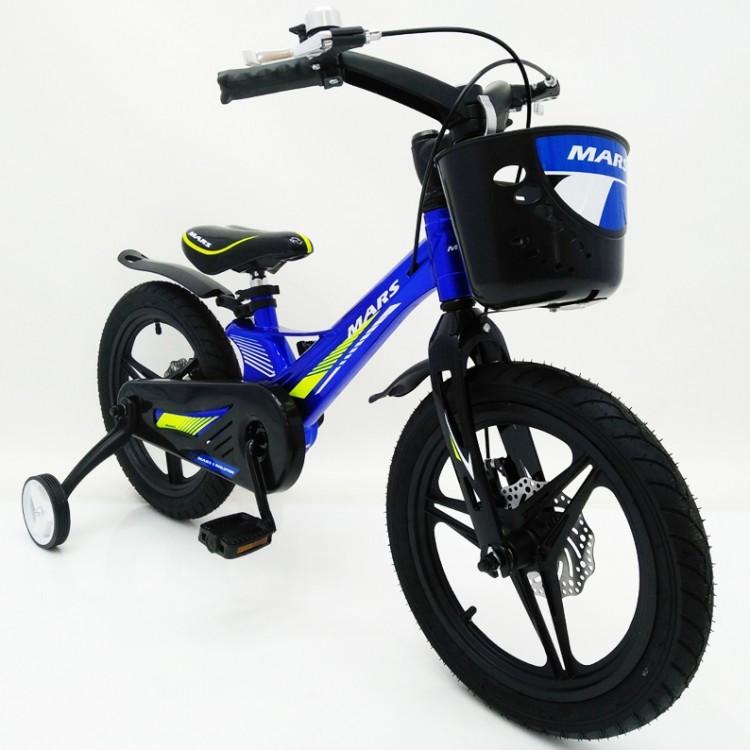 Детский двухколесный велосипед 16 дюймов MARS-2 Evolution (от 5 лет) синий