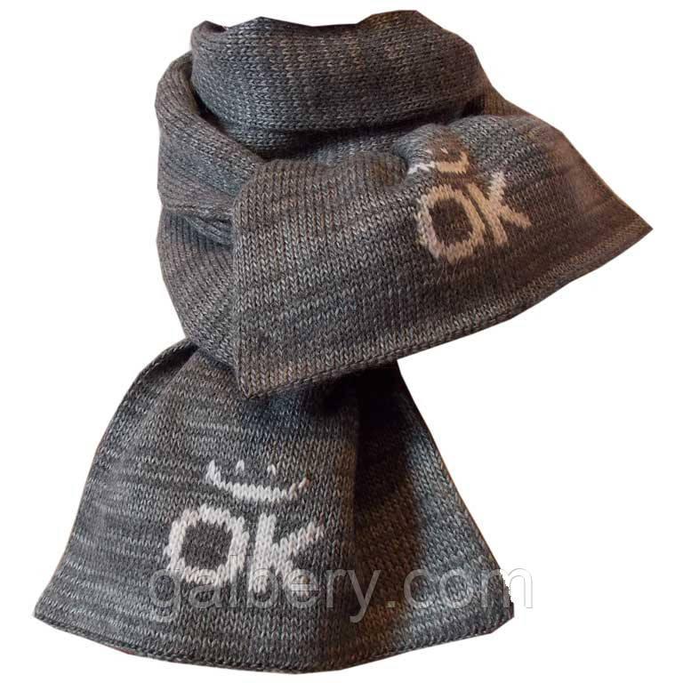 """В'язаний зимовий шарф """"Смайлик"""" кольору маренго"""