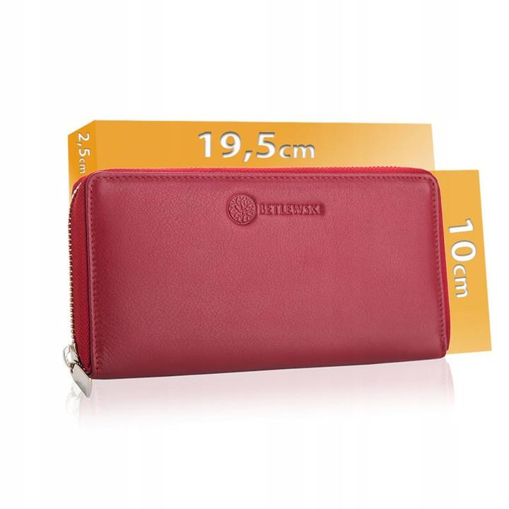 Жіночий шкіряний гаманець Betlewski з RFID 19,5 х 10 х 2,5 (BPD-SS-21) - червоний