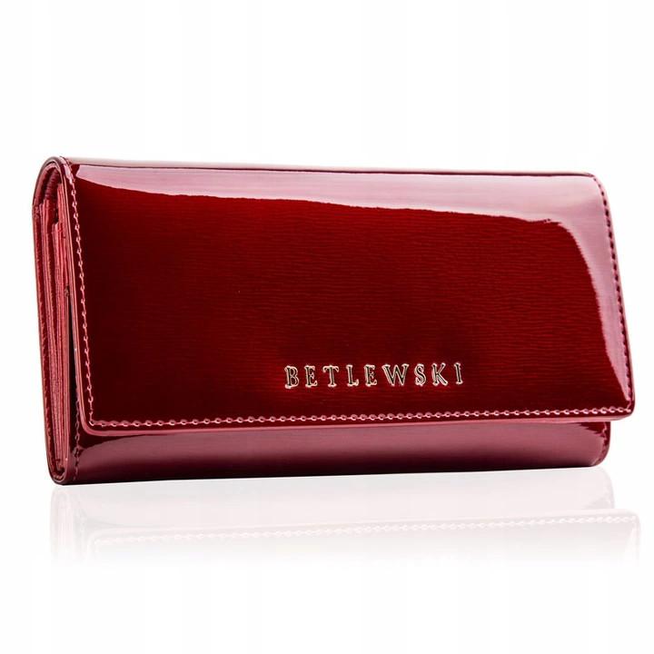 Жіночий шкіряний гаманець Betlewski з RFID 18 х 10 х 4 (BPD-BS-100) - червоний