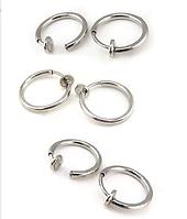 Cерьги 2шт кольцо обманка для пирсинга 10 мм (носа,ушей,губ) с фиксатором (клипсы)
