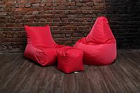 Розовый набор мягкой бескаркасной мебели (кресло мешок груша, диван, пуф)