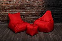Красный набор мягкой мебели (кресло груша, диван, пуфик)