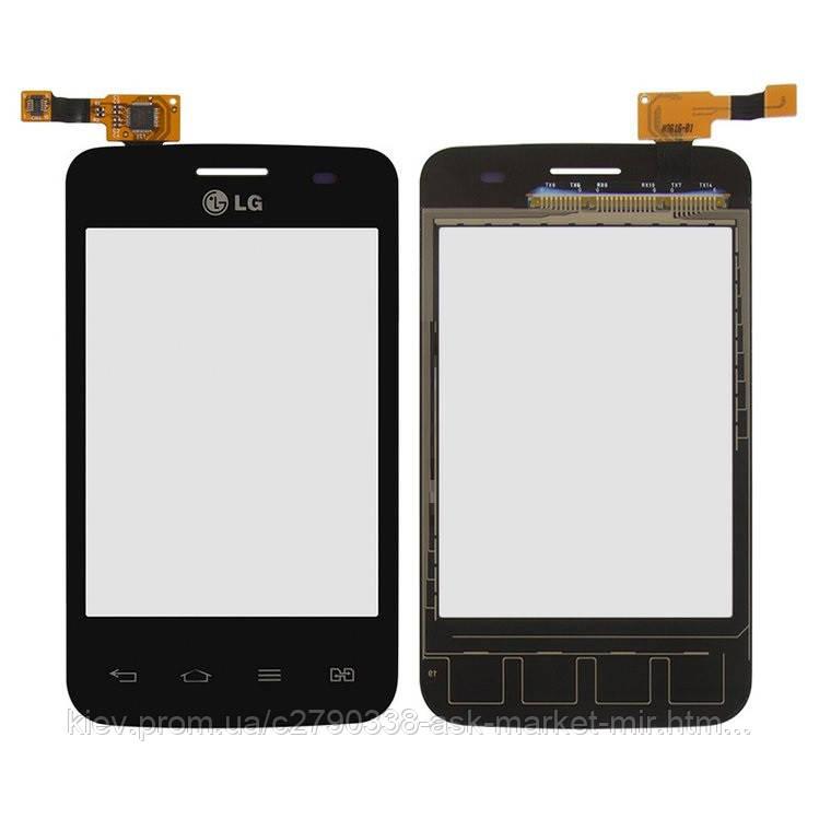 Сенсор для LG Optimus L3 II (E425, E430, E435) Original Black (версия E435 без выреза под кнопку)