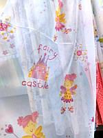 Тюль вуаль (шифон), розовый замок и феи