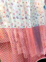 Тюль вуаль (шифон) бабочки мелкие и розовый горошек
