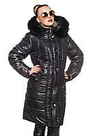 Зимние длинная куртка с натуральной опушкой.