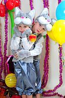 Детский карнавальный костюм Кот серый с белым