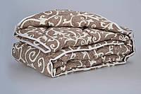 Одеяло из новозеландской овечьей шерсти «Вензели» шоколад (зима) 172*205см