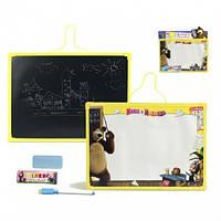 Доска для рисования с маркером и мелом Маша и Медведь
