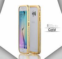 Бампер металлический с кристаллами для Samsung S6, фото 1