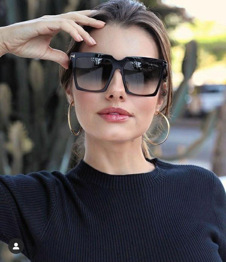 Женские квадратные солнцезащитные очки черные