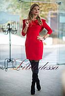 Платье с воланами красный