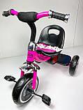 Триколісний велосипед Turbotrike M 3650 з музикою та підсвіткою, малиновий, фото 4