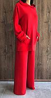Модный красный костюм худи и штаны палаццо. Женские костюмы спортивные прогулочные.