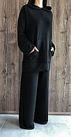 Молодіжний трикотажний костюм оверзайз. Чорний худі і штани палаццо.