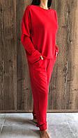 Модные молодежные костюмы. Красный спортивный костюм свитшот и штаны из двунитки.