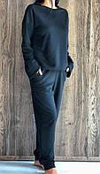 Черный спортивный костюм свитшот и штаны из двунитки ТМ Exclusive.