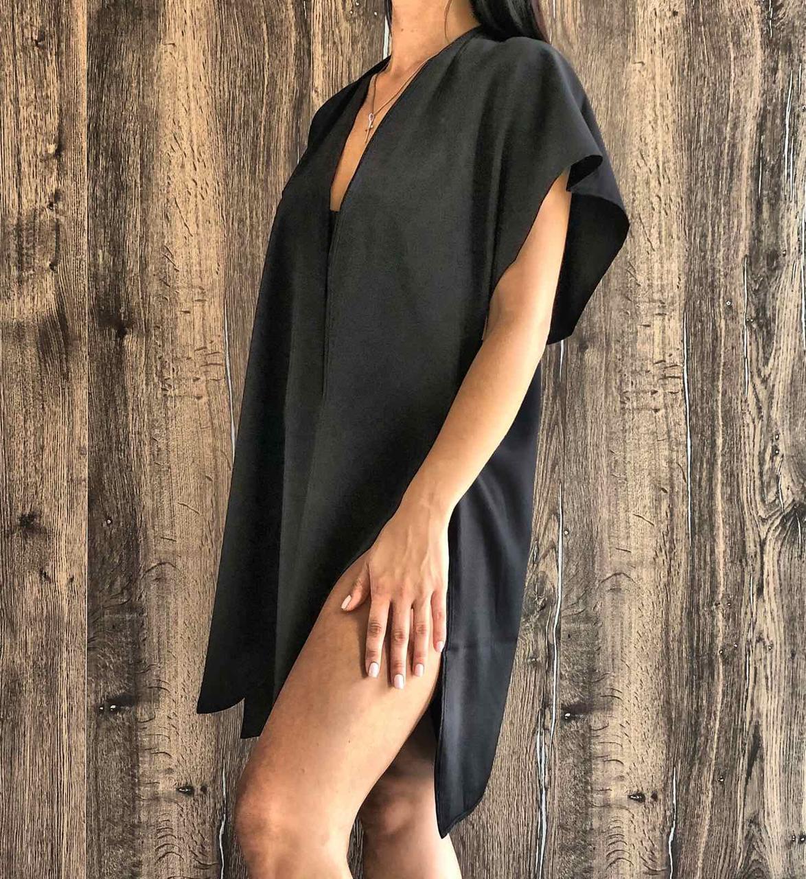 Черная короткая туника-рубашка, Женская пляжная одежда.