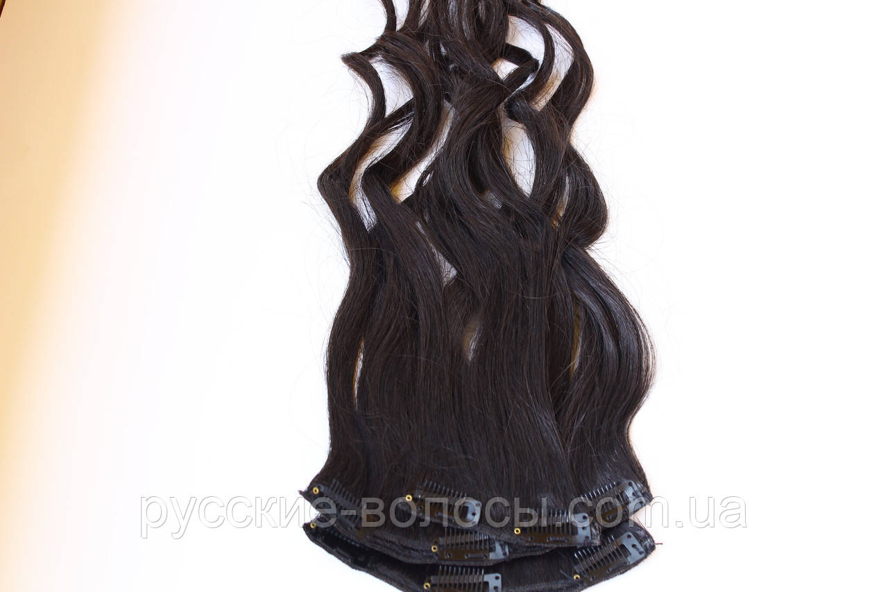 Тресс з слов'янських волосся на заколках преміум+ темний