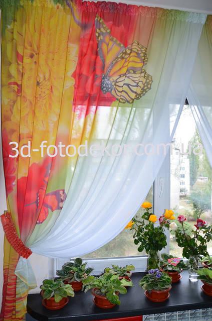 """В каталоге Фото тюль """"Бабочки и розовые розы"""". Ссылка: http://3d-fotodekor.com.ua/p129231688-foto-tyul-babochki.html"""