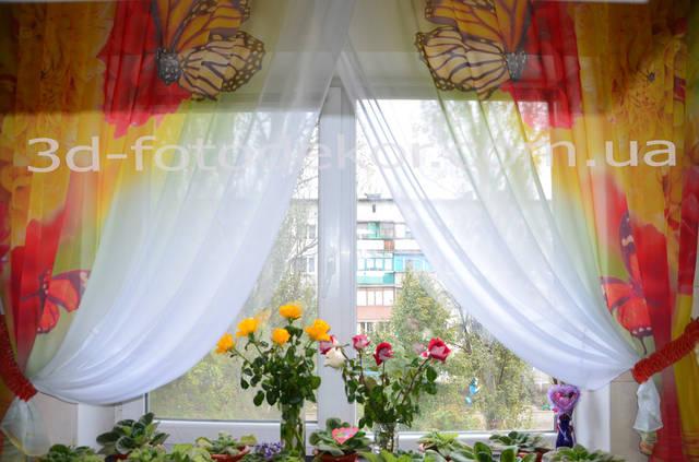 "Фото Тюль ""Бабочки с Цветами"" 36"