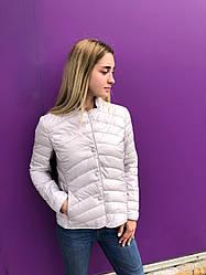 Женская ультралегкая серая стеганая короткая куртка пиджак на молнии  ZUCO  40
