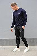 Комплект. Мужская синяя спортивная кофта и мужские черные спортивные штаны Adidas (Адидас)