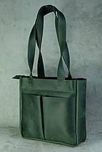 Шоппер з двома кишенями Вінтажна шкіра колір Зелений, фото 3