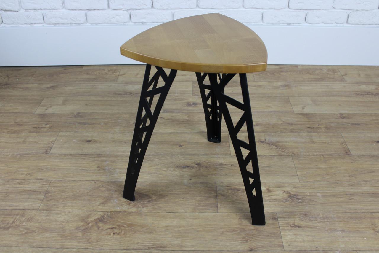Барный табурет в стиле LOFT из черного металла и натурального дерева