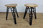 Барный табурет в стиле LOFT из черного металла и натурального дерева, фото 9
