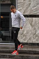 Комплект. Мужская серая спортивная кофта и мужские черные спортивные штаны Adidas (Адидас)