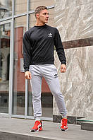 Комплект. Мужская черная спортивная кофта и мужские серые спортивные штаны Adidas (Адидас)