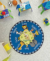 Ковер в детскую комнату Confetti - Animal planet синий Ø 133
