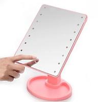 Настольное зеркало с подсветкой Large 16 LED Mirror РОЗОВОЕ