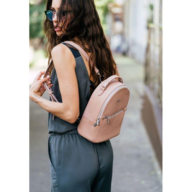 Кожаный женский мини-рюкзак Kylie розовый