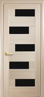 Двери межкомнатные Пиана ясень 60 п/о чёрное стекло