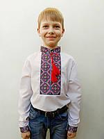 Вышиванка для мальчика Тимофей расшита вышивкой сине-зеленого цвета