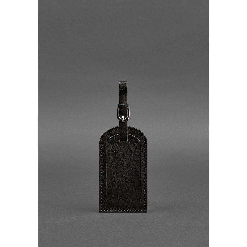 Кожаная бирка для багажа 2.0 Угольно-черная