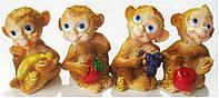 "Статуэтка Обезьяна 15115 керамика ""Обезьяна с фруктами"" 5см 4вида уп12"