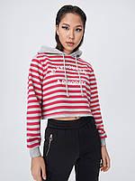 Модный стильный женский свитшот с капюшоном в полоску тренд 2020