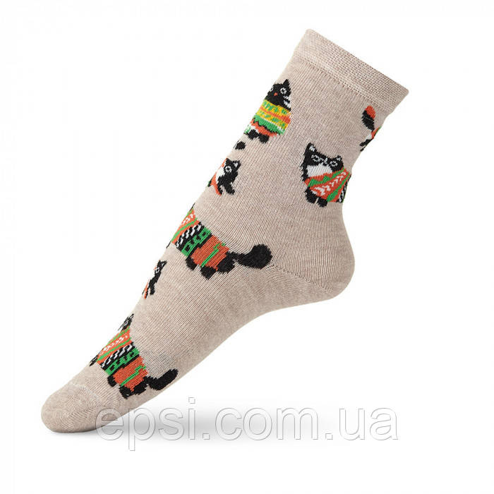 Детские носки с рисунком кота в свитере VT Socks Св.бежевый меланж, размер 22-24