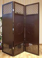 Ширма 3-х секционная «Пекин», шоколадно-коричневый