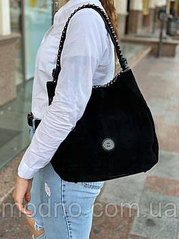 Женская качественная замшевая сумка на плечо чёрная Polina & Eiterou