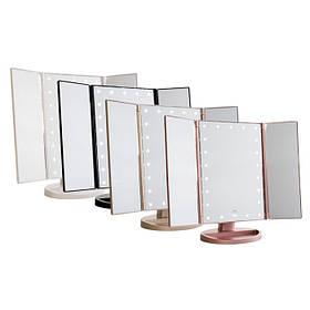 Зеркало с LED подсветкой тройное прямоугольное WJ26 | Зеркало тройное складное
